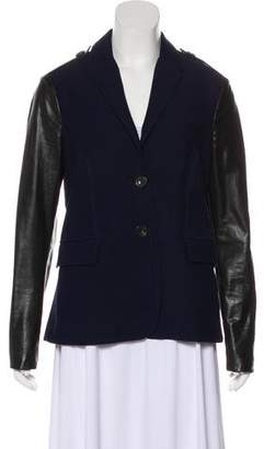 Burberry Leather-Accented Notch-Lapel Jacket