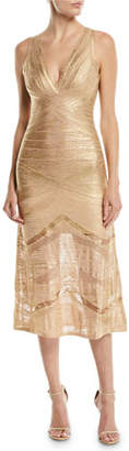 Herve Leger V-Neck Sleeveless Foil Bandage Knit Midi Cocktail Dress