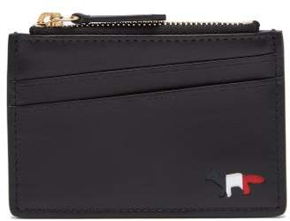 MAISON KITSUNÉ Fox Motif Leather Cardholder - Mens - Black