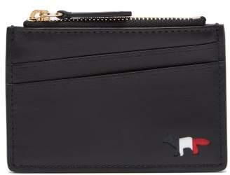 MAISON KITSUNÉ Fox Motif Leather Cardholder - Mens - Black