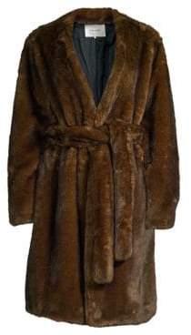 Frame Faux Mink Wrap Coat