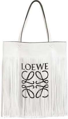 Logo Print Long Fringe Leather Tote Bag