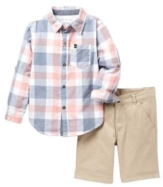 Calvin Klein Plaid Woven Shirt & Twill Shorts Set (Little Boys)
