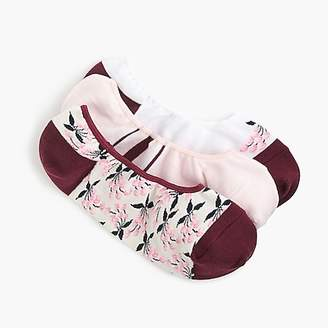 J.Crew Mixed no-show socks three-pack in stripes, flowers and colorblock