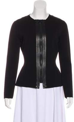 Tom Ford Leather-Accented Collarless Jacket