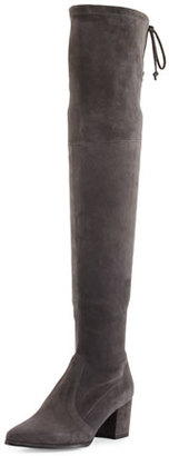 Stuart Weitzman Thighland Suede Over-The-Knee Boot, Slate $798 thestylecure.com