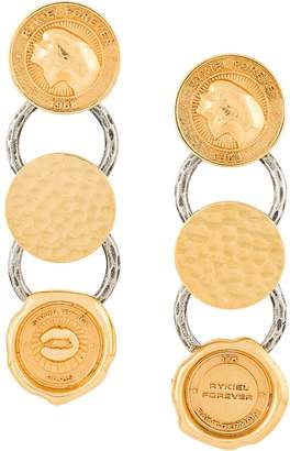 Sonia Rykiel medal drop earrings