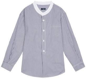 Il Gufo Collarless Striped Shirt