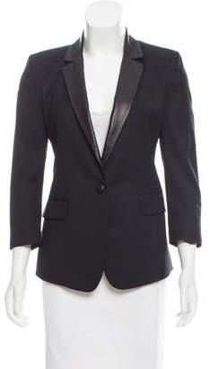 Boy By Band Of Outsiders Leather-Trimmed Wool Blazer