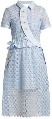 Self-Portrait Ruffled cut-out lace midi dress