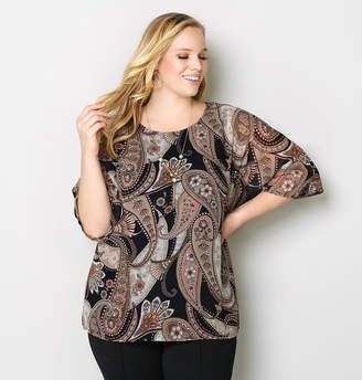 Avenue Paisley Top With Necklace