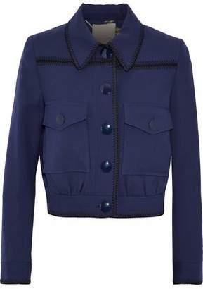Roksanda Cropped Whipstitched Wool-Twill Jacket