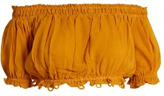 Apiece Apart Oeste Off The Shoulder Silk Cropped Top - Womens - Yellow