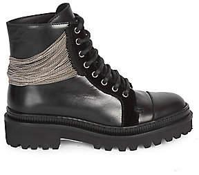 Balmain Women's Chain & Leather Ranger Boots