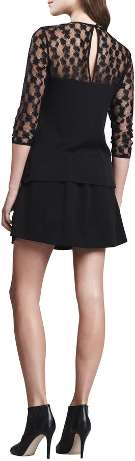 Milly A-Line Wool Skirt