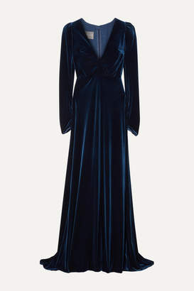 Monique Lhuillier Wrap-effect Velvet Gown - Navy
