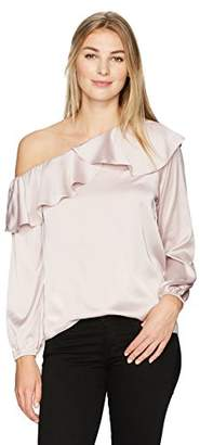 Lark & Ro Women's Asymmetrical Blouse with Ruffle