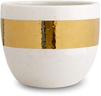 AERIN Gold Banded Ceramic Cachepot