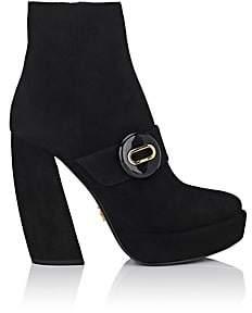 Prada Women's Button-Strap Suede Platform Ankle Boots-Nero