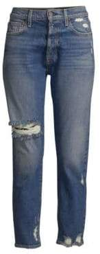 Alice + Olivia AO.LA by Amazing High Rise Distressed Button Fly Jeans