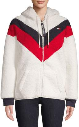 Tommy Hilfiger Faux Shearling Varsity Chevron Zip Hoodie