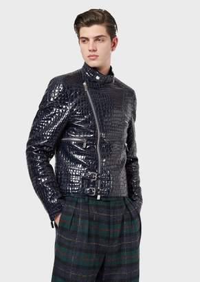 Emporio Armani Lambskin Nappa Leather Jacket With Crocodile Print