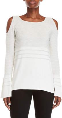 Design History Color Block Cold Shoulder Sweater