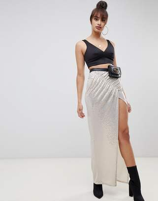 Asos Design DESIGN ruched sequin jersey maxi skirt