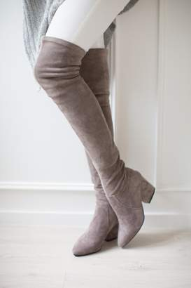 Goodnight Macaroon 'Carina' Taupe Over The Knee Suede Leather Boots