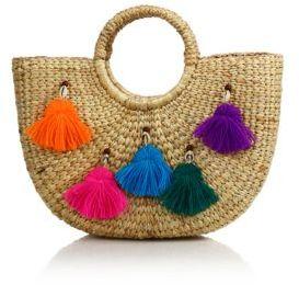 JADEtribe Tassel Pom Beach Basket $142 thestylecure.com