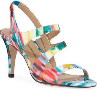 Neiman Marcus Brit High-Heel Watercolor Dress Sandals
