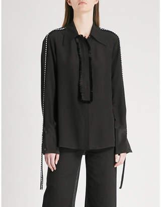 Mo&Co. Frayed-trim silk shirt
