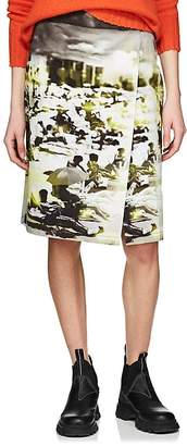 Prada Women's Beach-Print Cotton Canvas Foldover Skirt