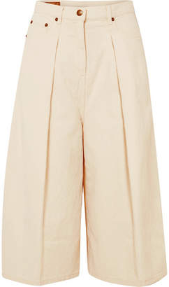 McQ Atami Pleated Cropped High-rise Wide-leg Jeans - White