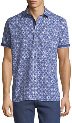 Bugatchi Shaped Fit Floral-Print Short-Sleeve Sport Shirt