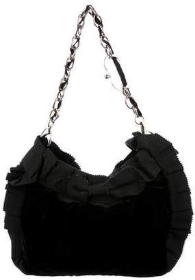 Alessandro Dell'Acqua Ruffle-Trimmed Velvet Shoulder Bag