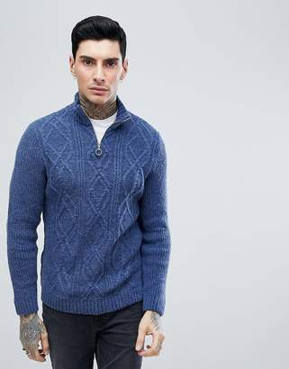 Asos DESIGN turtleneck cable sweater with zip in denim blue
