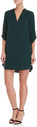 Lush Quarter Sleeve Pocket Shift Dress