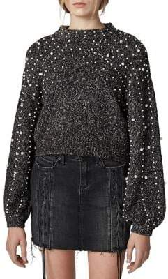 Blank NYC Faux-Pearl Embellished Sweater