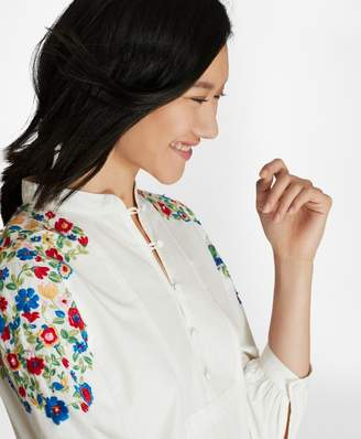 Brooks Brothers Floral-Embroidered Cotton Poplin Peasant Blouse