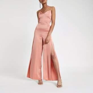 River Island Womens Light pink strappy cami split leg jumpsuit