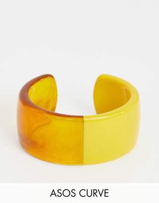 Asos DESIGN Curve cuff bracelet in split resin and tortoiseshell design