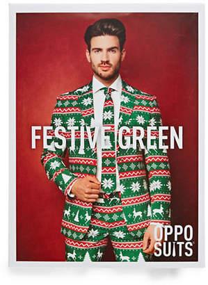 OPPOSUITS Festive Green Three-Piece Slim-Fit Suit Set