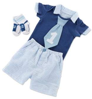 3-Piece My First Birthday Bodysuit, Short and Sock Set in Blue