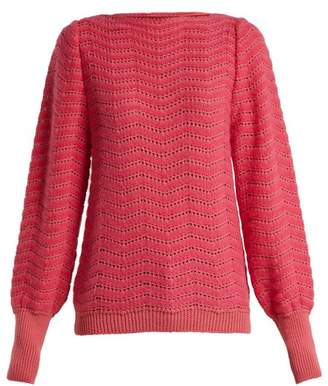 MiH Jeans Celia Pointelle Mohair Blend Sweater - Womens - Pink