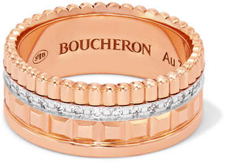 Boucheron Quatre Radiant Edition Small 18-karat Rose And White Gold Diamond Ring - Rose gold