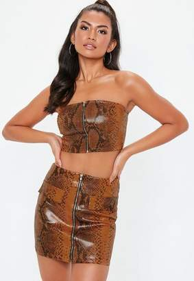 Missguided Snake Skin Bandeau Top & Mini Skirt Set, Rust