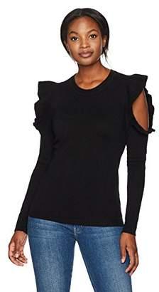 Lark & Ro Women's 100% Cashmere Ruffle Cold Shoulder Sweater