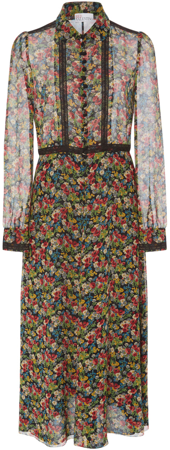 RED Valentino Red Valentino Long Sleeve Floral Shirt Dress