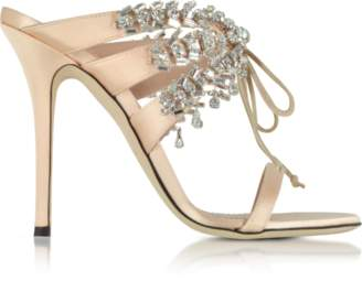 Giuseppe Zanotti Nude Satin and Crystals High Heel Slide Sandals